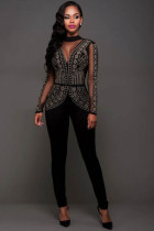 Plus Size Long Sleeve Sexy Jumpsuits L55255-3