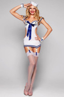 Sexy White Marine Sailor Pin Up Girl Costume Dress  L15120