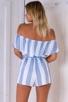 Blue Stripe Off The Shoulder Ruffle Romper L55302