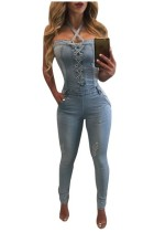 Lace-up Collar Denim Skinny Jumpsuits L55274-1