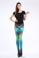 Form-fitting Blue Galaxy Leggings L8732