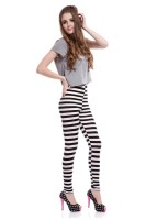 Comfortable Elasticity of black-and-white Striped Leggings L9685