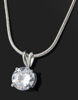 White Rhinestone Plated Pendant Necklace TY070
