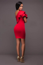 Red Single Ruffle Shoulder Mini Dress L28133-3