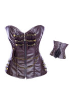 Front Zip Sexy Leather Corset L4196