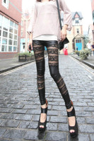 New Fashion Sexy Women Lace Skinny Pants Mesh Imitation Leather