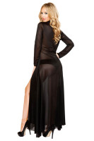 2Pcs Long Sheer Robe With Hooks and Mesh Shorts L51298