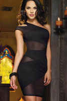 Plus Size Mesh and Knit One Shoulder Dress P2315-1
