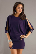 Purple Sexy Column 3/4 Length Long Chiffon Sleeves Short Evening 2320