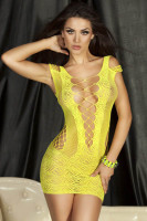 Yellow Crotchet Mesh Hollow-Out Mini Chemise Dress L27885-3