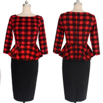 Womens Peplum Elegant Vintage Tartan Plaid Pencil Dress L36117-1