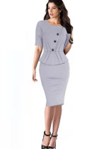 Elegant Office Peplum Dresses L36001-2
