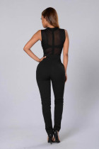Rhinestone Sleeveless Black Sexy Jumpsuits L55207