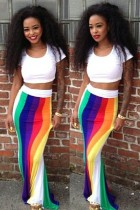 Rainbow Printing Design Long Dress with White Short Sleeves Crop