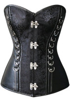 Black Leatherette D Ring Fetish Corset L42685