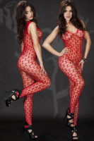 V-neck Sleeveless Crotchless Netty Red Body Stockings L92287-2