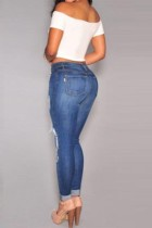 Washed Denim Ripped Big Holes Lady Jeans L516