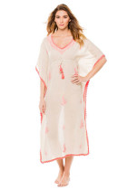 Embroidered V-neck Caftan L51282