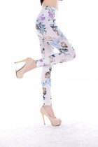 Flower Pattern Sexy Leggings White L9629