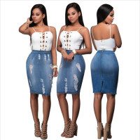 Sandy Blue Denim Wash Destroyed Skirt Set