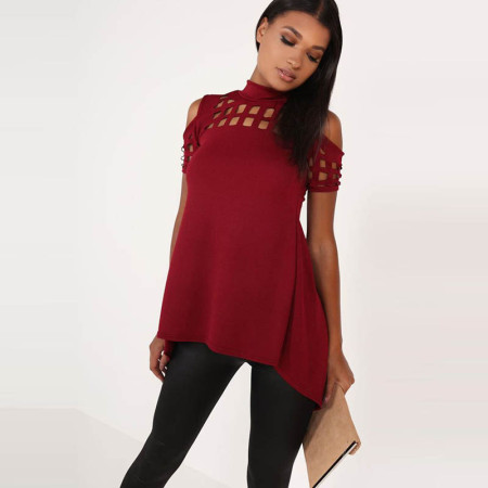 Hollow Out Back Split Slim Casual Tops 578-3