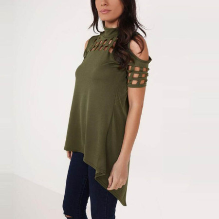 Hollow Out Back Split Slim Casual Tops 578-4