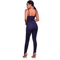 Cammi Denim Faux Button Front Fitted Jumpsuit 55334