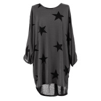 Quirky Batwing Long Sleeve Star Print Tunic Jumper Dress 28238-3