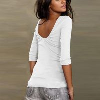 Womens O-Neck Backless T-Shirt 589-2