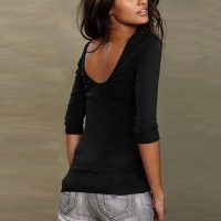Womens O-Neck Backless T-Shirt 589-3