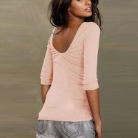Womens O-Neck Backless T-Shirt 589-4