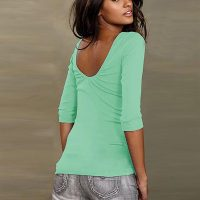 Womens O-Neck Backless T-Shirt 589-1