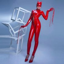 PVC Leather Wet Look Front Zipper Catwoman 60815-2