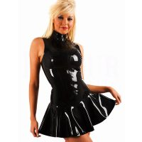 Women's PVC Zip Front Mini Dress Black Clubwear 60813