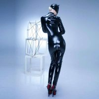 PVC Leather Wet Look Zipper Catwoman 60815-1