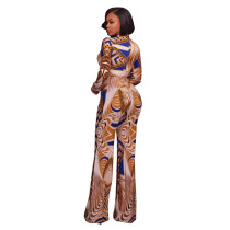 Meredith Golden & Royal Blue Abstract Print Jumpsuit 55358-1