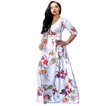 Half Sleeves Printed White Maxi Dress 5024