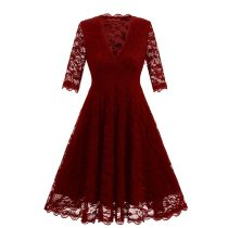 Women's 3/4 Sleeve Lace-stitching Evening Dress