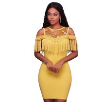 Kynlee Yellow Fringe Mini Dress