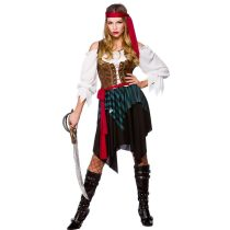 Ladies Caribbean Pirate Budget Fancy Dress Halloween Costume