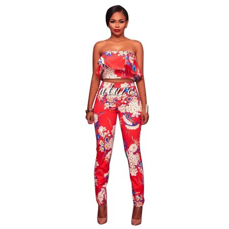 Kalifa Tomato Red Multi-Color Floral Print Two Piece Set
