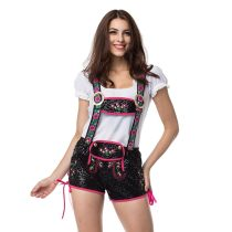 Embroidered Black Mini Ladies Leederhosen