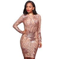 Caleb Rose Gold Nude Sequins Semi-Sheer Open Back Dress
