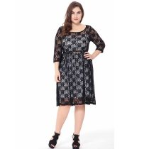 Plus Size Black Lace Midi Dress