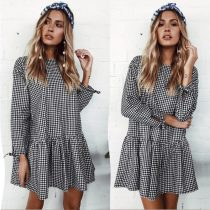 Women Autumn Grid Plaid Printing Dress Long Sleeve Party Dress