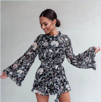 Flare Sleeve High Neck Playsuit