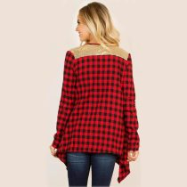 Long Sleeves Plaid Irregular Kimono Cardigans Patchwork Shirt Tops