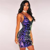 Rainbow Iridescent Reversible Sequins Velvet Dress