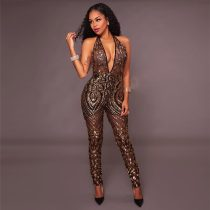 Annalise Black Gold Sequin Deep V Jumpsuit