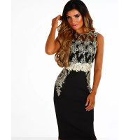 Black And Gold Embroidered Midi Dress